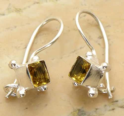 Citrine Quartz .925 Sterling Silver Overlay Handmade Fashion Earrings Jewelry