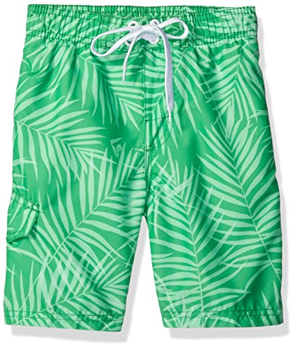 Kanu Surf Little Boys' Line Up Quick Dry Beach Swim Trunk, Palma Green, Large (7) ()