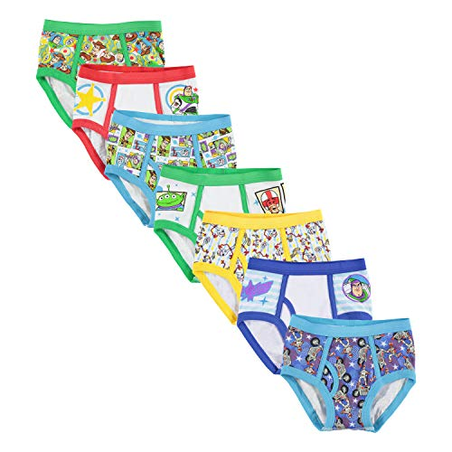 Disney Pixar Toy Story 7 Pack Toddler Boys Briefs, Multi, 4T (Buzz Off Apparel)