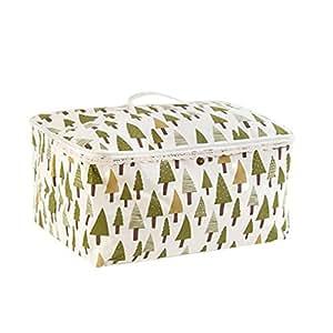 AmyDong Caja de almacenamiento, bolsa de almacenamiento plegable de lino y algodón, manta de ropa, colcha y organizador de suéteres, abrigos, a prueba de humedad, contenedor de almacenamiento