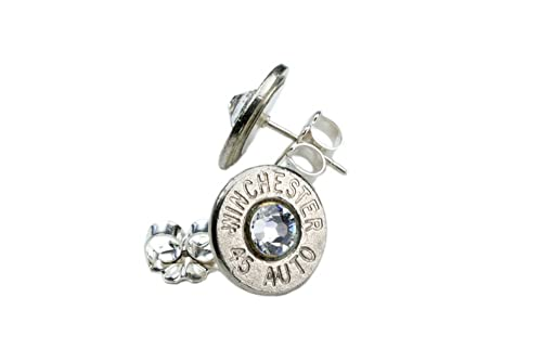 Classy, Dainty .45 Auto NICKEL Plated Brass Bullet Head Stud Earrings with Swarovski Crystals