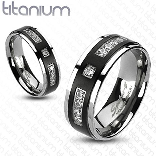 Solid Titanium Two-Tone Black IP Center Cubic Zirconia Wedding Band Width 06 mm Size 08 ()