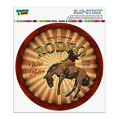 Graphics and More Rodeo Cowboy Vintage Horse Riding Bucking Automotive Car Window Locker Circle Bumper Sticker