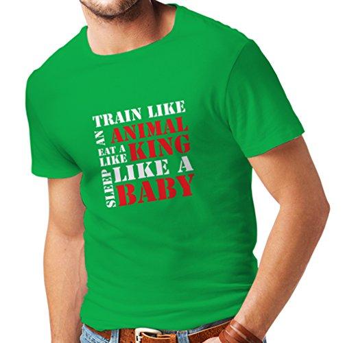 Camisetas Hombre Tren Duro - Citas de motivación de la Aptitud, Plan de Entrenamiento Diario (X-Large Verde Blanco)