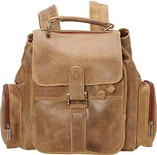 Le Donne Leather Distressed Leather Multi-Pocket Backpack Premium Full-Grain Colombian Vaquetta Leather Bag