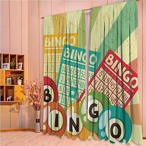 franlinkcossosoph Curtain with Light Shielding for Window Treatment,Vintage Decor,Bingo Game with Ball and Cards Pop Art Stylized Lottery Hobby Celebration Theme,Multi,84.3