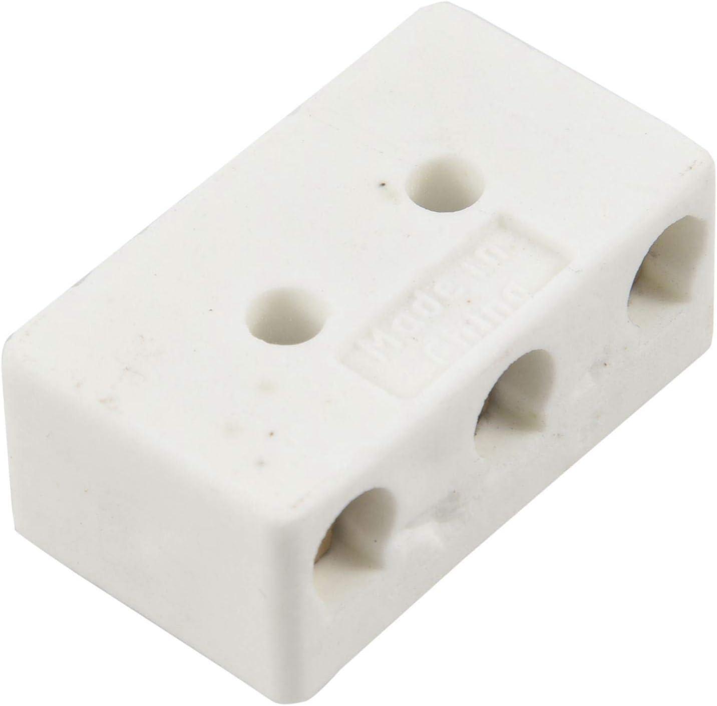 BKAUK Lot de 2 blocs de connecteurs en c/éramique haute temp/érature 250 V 30 A 3 W8H Blanc
