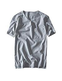 Naladoo Men's Linen Short Sleeve T Shirts, Loose Casual Summer Beach Shirt Tops