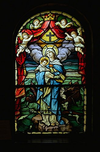 Photograph| Stained-glass window at the Catholic Basilica of St. Lawrence in Asheville, North Carolina 2 Fine Art Photo Reproduction 44in x 66in