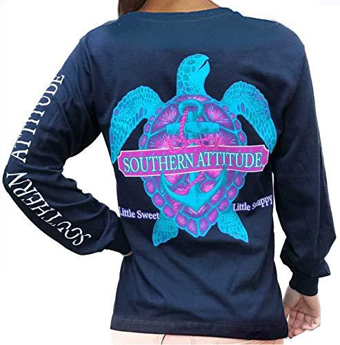 Southern Attitude Snappy Turtle Navy Long Sleeve Shirt (Large) (Vineyard Women Hat)
