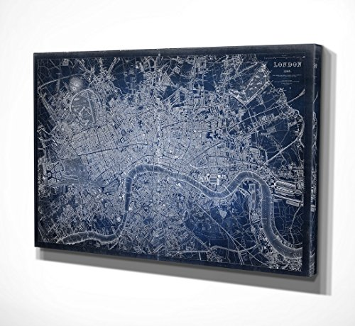 WEXFORD HOME Antique London Map Blue Gallery Wrapped Canvas Wall Art, 20x40