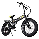 YUME 20″ Folding Electric Mountain Bike with 48V 10.4AH Removable Lithium-Ion Battery Lightweight Handlebar Display Collapsible Frame Bicycle with 250W Motor and Shimano Gear (Black) For Sale