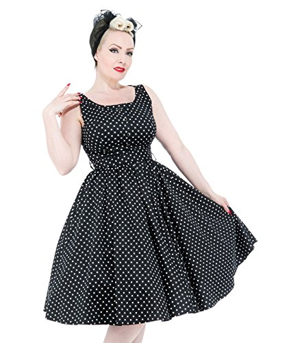H&R London Damen Kleid 50er Punkte 9058 Schwarz