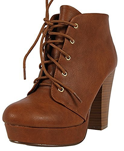 Tan High Booties Platform H Chunky Dress up Women's Ankle Heel Lace Agenda Soda qt7F6