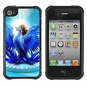 A-type Arte & diseño Anti-Slip Shockproof TPU Fundas Cover Cubre Case para Apple iPhone 4 / 4S ( Glorious Blue Bird )