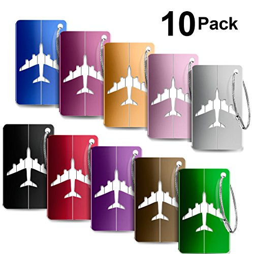 Luggage Tags 10pcs,Baggage Tags Tag Labels with Business Card Holder(10 colors) by Yosemy