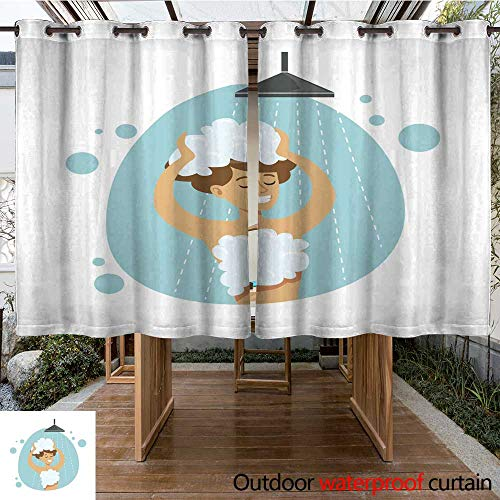 - RenteriaDecor Outdoor Ultraviolet Protective Curtains Girl Washing Hair in Shower Part of People in The Bathroom Doing Their Routine Hygiene Procedures Series W55 x L72