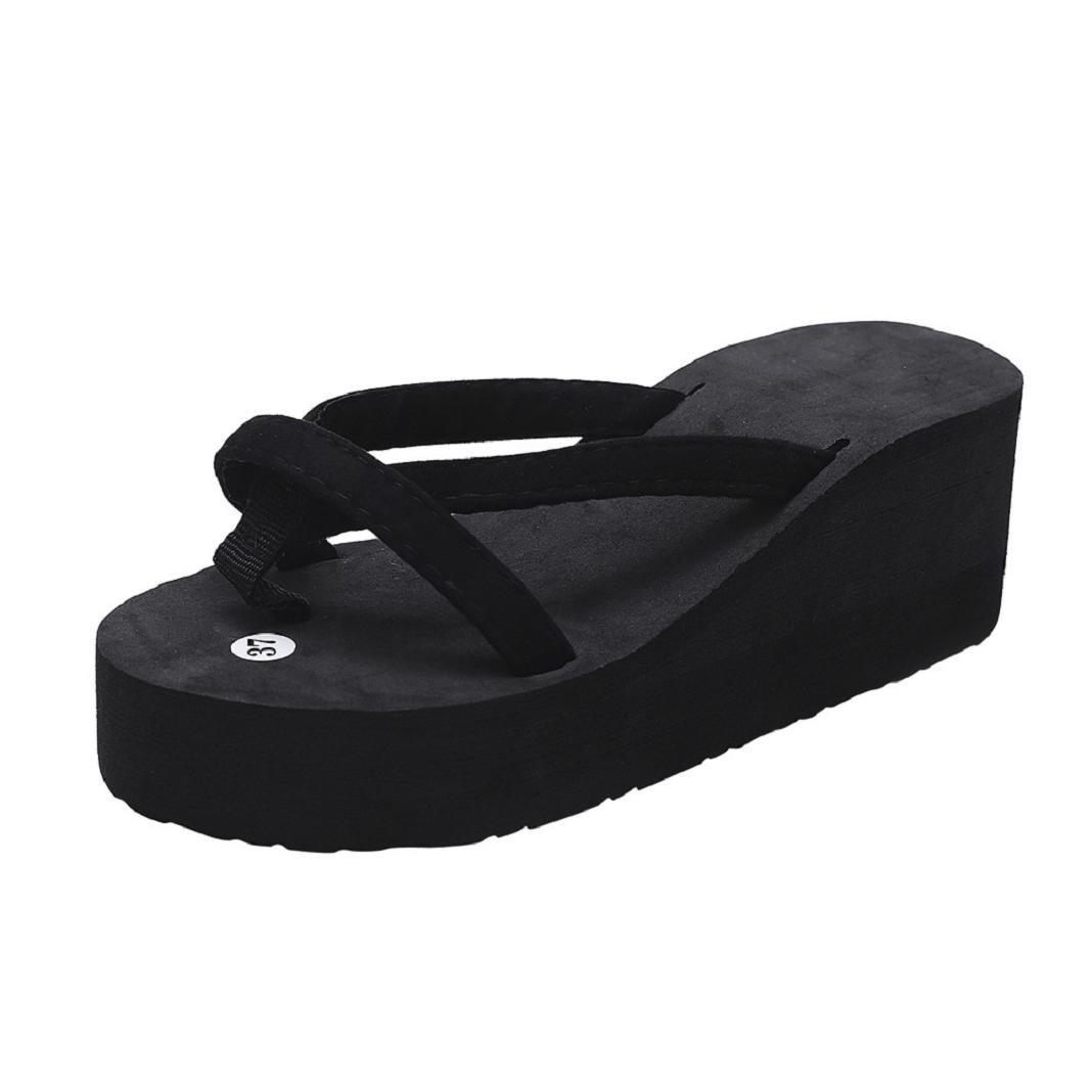ShenPr Summer Women's Casual Solid Flip Flops Bandage Open Toe Slipper Beach Wedge Thick Sole Heeled Shoes (Black, 7)