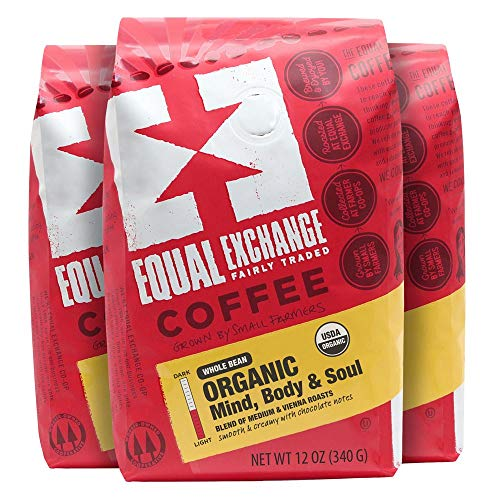 Equal Exchange Organic Coffee, Mind Body Soul, Whole Bean, 12-Ounce Bags (Pack of 3)