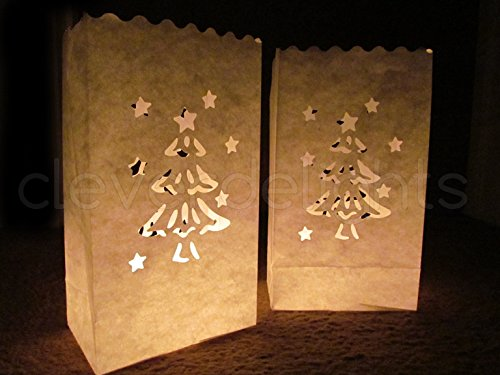 Cleverdelights White Luminary Bags 20 Count Christmas