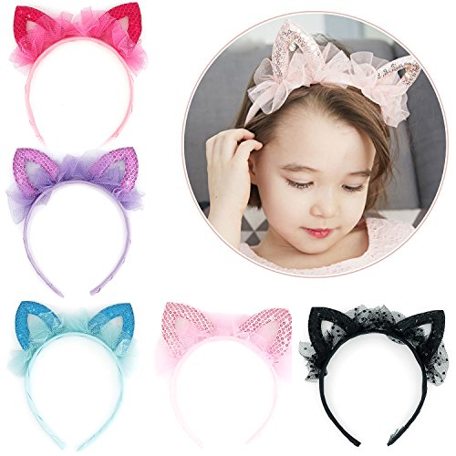 Elesa Miracle Kids Girl Sequins Cat Ear Hair Hoop Toddler Party Favor Hair Band Headband Value Set (6pc- Mix Color) ()