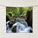 smallbeefly Nature Hand Towel National Park with Cascade Flowing into The Woods Mother Earth Image Quick-Dry Towels Fern Green Dark Grey White Size: W 20'' x L 30''