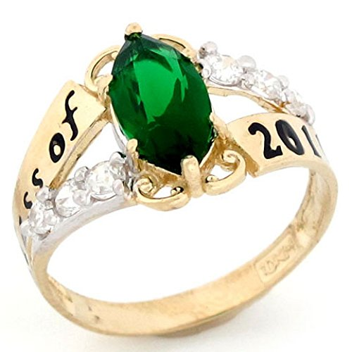 10k Gold Simulated Emerald May Birthstone Class of 2018 Graduation - Class Emerald Ring