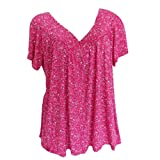 V Neck Blouse Women Plus Size Shirt Short Sleeves Print Pullover Tops