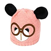 Winter Knitted Hats, Inkach Cute Toddler Baby Girls Knitting Wool Beanie Hat Bear Shaped Caps (Pink)