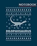 Notebook: dinosaur ugly christmas dilophosaurus - 50 sheets, 100 pages - 8 x 10 inches
