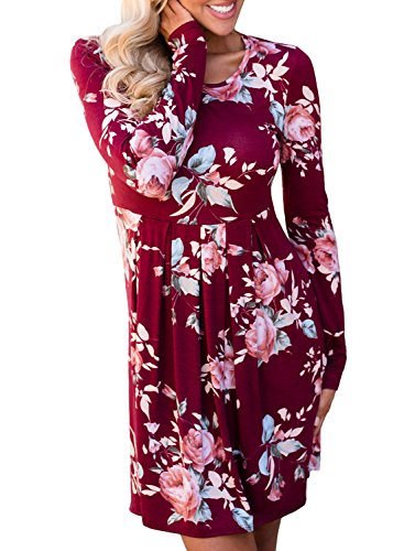 Lavender Floral Dress (ZESICA Women's Long Sleeve Floral Print Pleated Casual Swing Tunic T-shirt Dresses, Small, Wine Red)