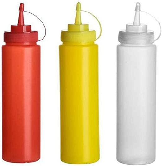3-Pack Sauce Bottle Dispenser Squeeze Ketchup Mustard Mayo Sauce Condiment 300ml