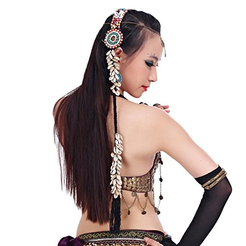 AvaCostume Womens Belly Dance French Braid Headband Accessories, White