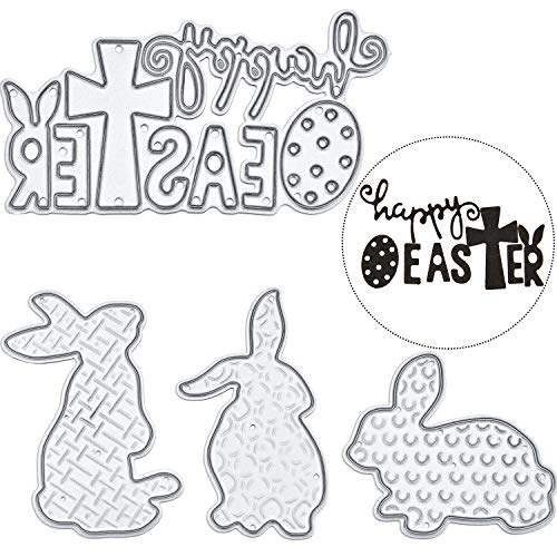 (Pangda Happy Easter Letter Cutting Dies and Bunny Rabbit Metal Stencil Template for DIY Scrapbook Album Paper Card Embossing, 4 Pieces Totally (Set 1) (Set)