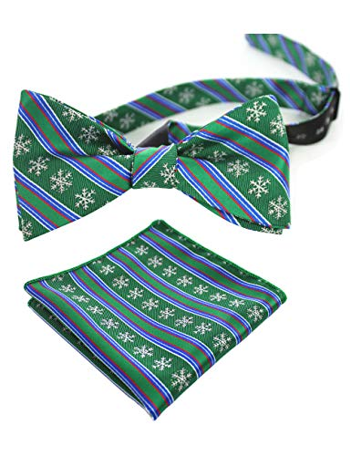 JEMYGINS Green Mens Christmas Bowtie Self Bow Tie & Pocket Square Set (44) ()