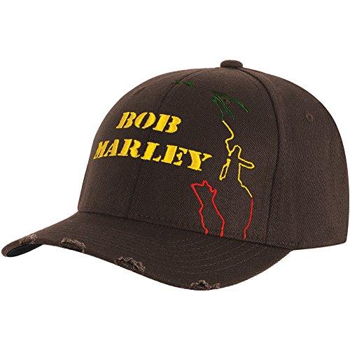 Bob Marley Men's Yellow Logo Baseball Cap Fitted Black