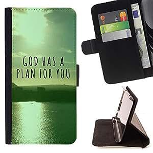 BullDog Case - FOR/Apple Iphone 6 / - / GOD HAS A PLAN FOR YOU /- Monedero de cuero de la PU Llevar cubierta de la caja con el ID Credit Card Slots Flip funda de cuer