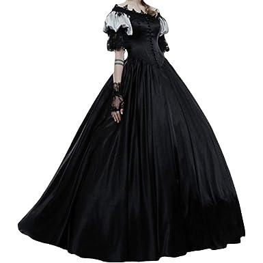 Mujer Medievales Largo Vestido Fuera del Hombro Plisada Falda ...