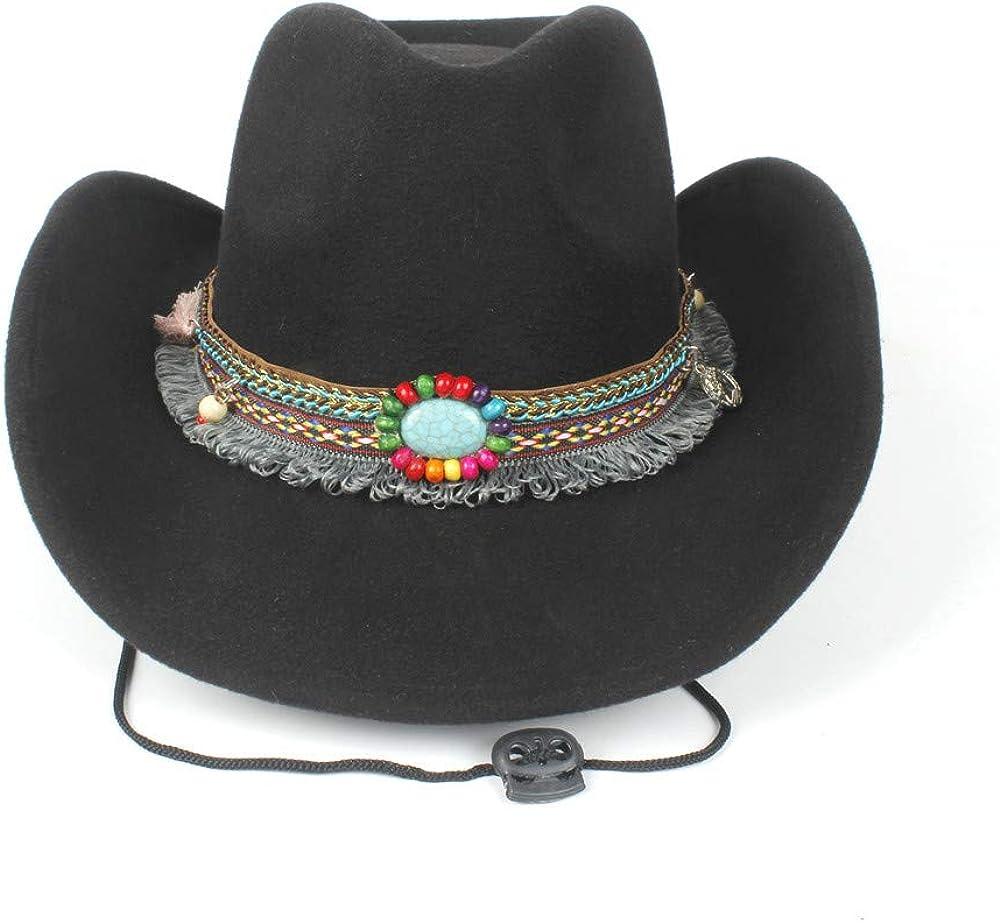 LL Fashion Women Wool Hollow Western Cowboy Hat Elegant Tassel Band Fascinator Hombre Caps