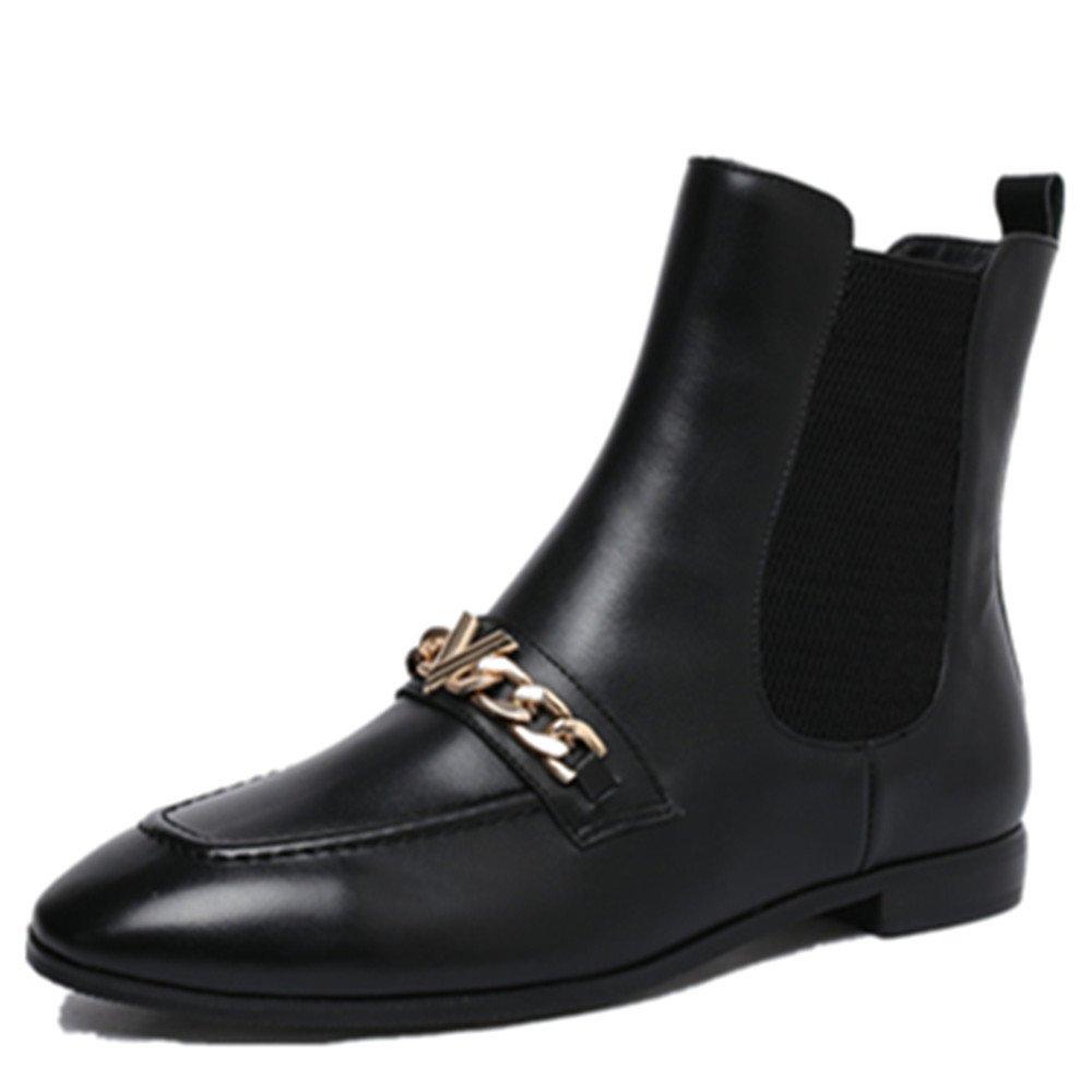 Nine Seven Genuine Leather Women's Round Toe Flat Heel Slip On Comfort Handmade Ankle Booties (7, Black)