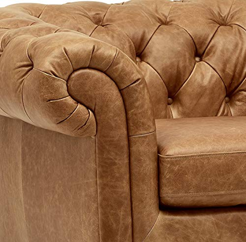 Farmhouse Accent Chairs Amazon Brand – Stone & Beam Bradbury Chesterfield Tufted Leather Accent Chair, 50″W, Cognac farmhouse accent chairs