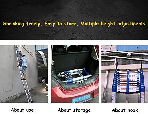 Escalera extensible Escalera telescópica Extensible De Aluminio Telescópica Escalera, La Escalera De Extensión Portátil con Ganchos, Ideal for La Azotea Cubierta Industrial Al Aire Libre, 330lbs Capac: Amazon.es: Hogar