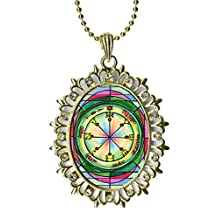Solomons 6th Pentacle of Mars for All-encompassing Protection Huge Light Gold Medallion Rhinestone Pendant