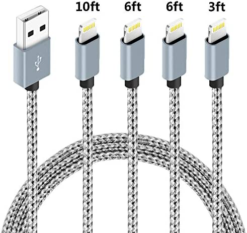4 Pack(3ft,6ft,6ft,10ft), Certified iPhone Charger Lightning Cable High Speed Nylon Braided USB Fast Charging&Data Syncs Cord Compatible iPhone 11 Pro Xs MAX XR 8 8 Plus 7 7 Plus 6s (WhiteGrey)