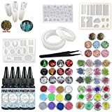INNICON Crystal Clear UV Epoxy Resin 5x30ml 14X Silicone Molds with 48X Glitters Decorations Sets Pigment Decorations Lamp Tweezers Pendants for Pendants Necklaces Earrings Bracelets Charms