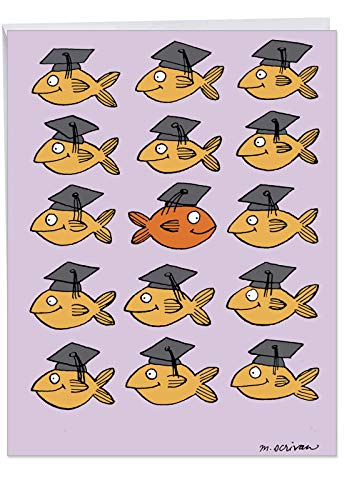 J3914 Jumbo Funny Graduation Card: Stand Out in Crowd With Envelope (Extra Large Version: 8.5'' x 11'')