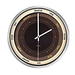 12-Inch Non-Ticking Silent Wall Clock With Modern and Nice Design For Living Room Large Kitchen, Metal Frame Round Wall Clock Battery Operated (Coffee, Silver)