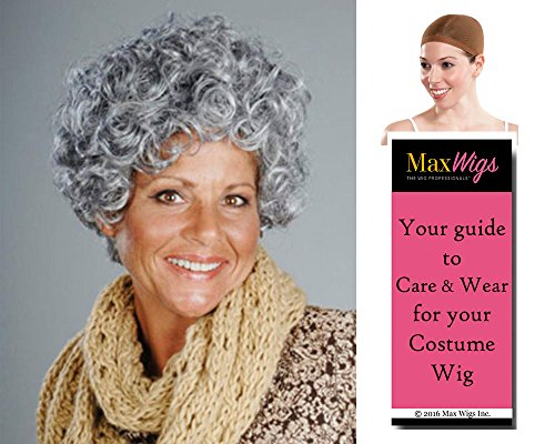 Nanna Grandma Color Mixed Grey - Enigma Wigs Women's Curly Mamas Family Gramma Short Bundle with Wig Cap, MaxWigs Costume Wig Care Guide ()