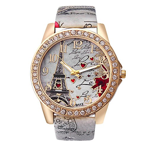 - Hunzed Women's Wrist Watch Vintage Paris Eiffel Tower Pattern Crystal Leather Quartz Wristwatch Best Gift (Gray)