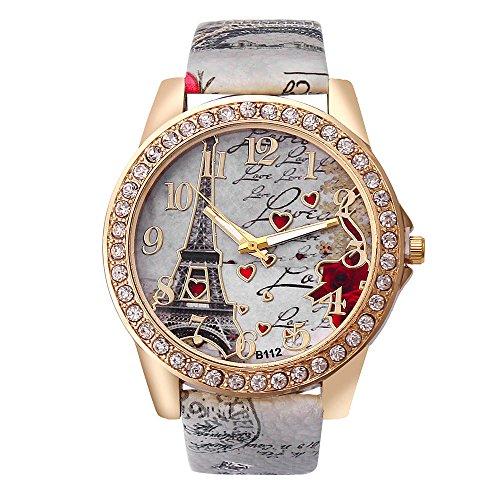 Hunzed Women's Wrist Watch Vintage Paris Eiffel Tower Pattern Crystal Leather Quartz Wristwatch Best Gift (Gray)